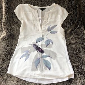 RW&Co white top with bird (used; size xs)